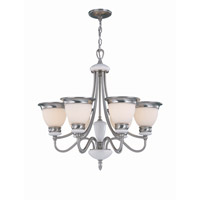 Lite Source Carter 6 Light Chandelier in Polished Steel with Frost Glass Shade LS-18426PS/FRO