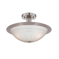 Lite Source Fraley 3 Light Semi-Flush Mount in Polished Steel with Frost Glass Shade LS-18458