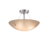 Lite Source Rocco 3 Light Semi-Flush Mount in Polished Steel with Frost Glass Shade LS-18460