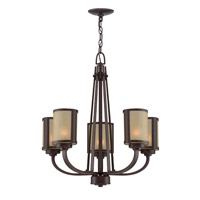 Lite Source Zerlam 5 Light Chandelier in Aged Bronze with Glass Shade LS-18475