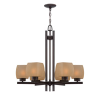 Lite Source Solo 6 Light Chandelier in Dark Bronze with Glass Shade LS-18486