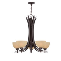 Lite Source Frenchie 5 Light Chandelier in Dark Bronze with Glass Shade LS-18495