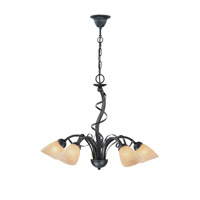 Lite Source Wavia 5 Light Chandelier in Antique Gold Bronze with Light Amber LS-18570