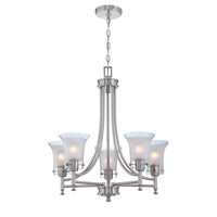 Lite Source Niccolo 5 Light Chandelier in Polished Steel with Glass Shade LS-18735