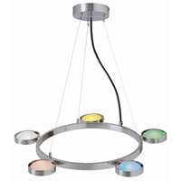 Lite Source Sherbet 5 Light Chandelier in Polished Steel with Multi Glass Shade LS-18745MULTI