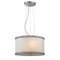 Lite Source Lavina 3 Light Pendant in Polished Steel with Paper Shade LS-18858
