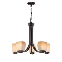 Lite Source Orazio 5 Light Chandelier in Dark Bronze with Amber Glass LS-18965