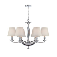 Lite Source Althea 6 Light Chandelier in Chrome with White Fabric Shade LS-18996C