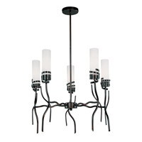 Lite Source Espiral 5 Light Chandelier in Dark Bronze with Frost Glass LS-19005
