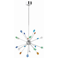 Lite Source Starstruck 20 Light Pendant in Chrome with Multi Star Glass LS-19120C/MULTI