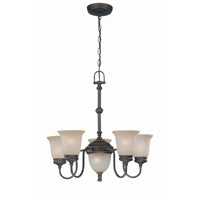 Lite Source Shanton 7 Light Chandelier in Antique Bronze with Light Amber Glass LS-19135