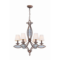 Lite Source Damaris 6 Light Chandelier in Aged Bronze with Linen Shade LS-19136