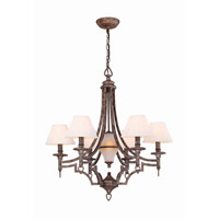 Lite Source Damaris 7 Light Chandelier in Aged Pewter with White Shade LS-19137