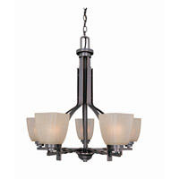 Lite Source Nita 5 Light Chandelier in Copper Bronze with Woven Pattern Glass LS-19289CP/BRZ
