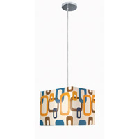 Lite Source Boogaloo 1 Light Pendant in Chrome with Fabric Shade LS-1940