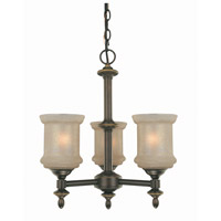Lite Source Vashon 3 Light Chandelier in Bronze with Glass Shade LS-19413
