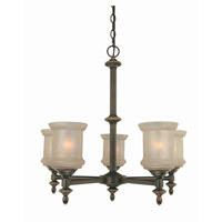 Lite Source Vashon 5 Light Chandelier in Bronze with Glass Shade LS-19415