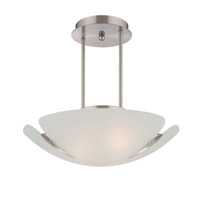 Lite Source Devona 3 Light Semi-Flush Mount in Polished Steel with Frost Glass Shade LS-19422PS/FRO