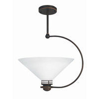 Lite Source Trebble 1 Light Semi-Flush Mount in Copper Bronze with Frost Glass Shade LS-1942CB/FRO