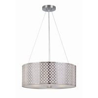 Lite Source Netto 3 Light Pendant in Polished Steel with Metal Cut-Out Shade with Liner LS-19519PS