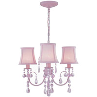 Lite Source Sofie 3 Light Chandelier in Pink with Crystal with Pink Shade LS-19528PINK