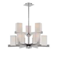 Lite Source Raimondo 9 Light Chandelier in Polished Steel with Frost Glass Shade LS-19549
