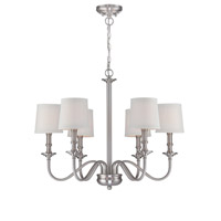 Lite Source Sampson 6 Light Chandelier in Polished Steel with White Fabric Shade LS-19606