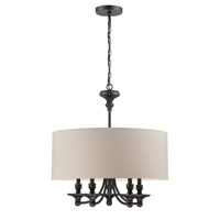 Lite Source Salisburg 5 Light Pendant in Dark Bronze with White Fabric Shade LS-19620