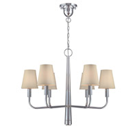 Lite Source Marquise 6 Light Chandelier in Chrome with White Fabric Shade LS-19636