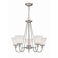 Lite Source Bastien 5 Light Chandelier in Polished Steel with Frost Glass Shade LS-19655PS/FRO
