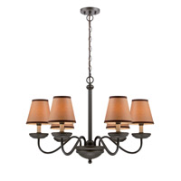 Lite Source Marysa 6 Light Chandelier in Dark Bronze with Kraft Shade LS-19656