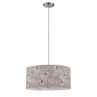 Lite Source Tala 3 Light Pendant in Polished Steel with Floral Pattern Shade LS-19713