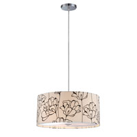 Lite Source Tala 3 Light Pendant in Polished Steel with Floral Pattern Shade LS-19714