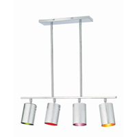Lite Source LS-19744C/MULTI Cans 4 Light 31 inch Chrome and Multi-Color Chandelier Ceiling Light