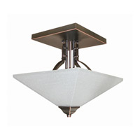Lite Source Ontibile 2 Light Semi-Flush Mount in Dark Bronze with Frost Glass Shade LS-19762D/BRZ