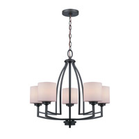 Lite Source Winston 5 Light Chandelier in Dark Bronze with Frost Glass Shade LS-19785D/BRZ