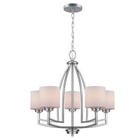Lite Source Winston 5 Light Chandelier in Polished Steel with Frost Glass Shade LS-19785PS