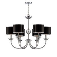 Lite Source Nicci 6 Light Chandelier in Chrome with Black Paper Shade LS-19806