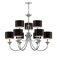 Lite Source Nicci 9 Light Chandelier in Chrome with Black Paper Shade LS-19809