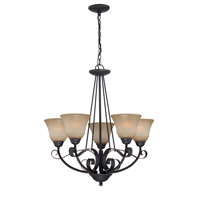 Lite Source Ember 5 Light Chandelier in Dark Bronze with Light Amber Glass LS-19885