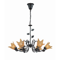 Lite Source Farrell 6 Light Chandelier in Dark Bronze with Glass Shade LS-19886
