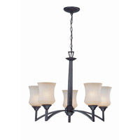 Lite Source Ethan 5 Light Chandelier in Dark Bronze with Amber Glass LS-19895