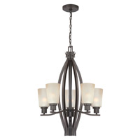 Lite Source Nelson 5 Light Chandelier in Dark Bronze with Light Amber Glass LS-19897