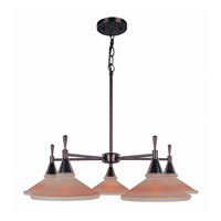 Lite Source Hogan 5 Light Chandelier in Dark Bronze with Amber Glass Shade LS-19955