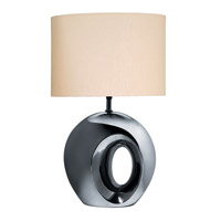 Lite Source Oh 1 Light Table Lamp in Black and Chrome with Fabric Shade LS-20142