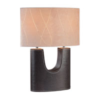 Lite Source Tannar 2 Light Table Lamp in Genuine Leather with Oval Suede Shade LS-20208LTR