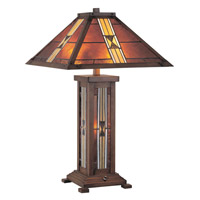 Lite Source Farah 3 Light CFL Table Lamp in Dark Bronze with Tiffany Shade and Night Lite LS-20812
