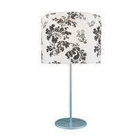 Lite Source Blatt 1 Light CFL Table Lamp in Silver with Printed Fabric Shade LS-21032