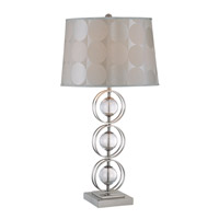 Lite Source Cosimo 1 Light CFL Table Lamp in Polished Steel and Clear Glass with Fabric Shade LS-21109