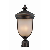 Lite Source Shanton 3 Light Outdoor Post Lantern in Antique Rust with Light Amber Glass LS-21131